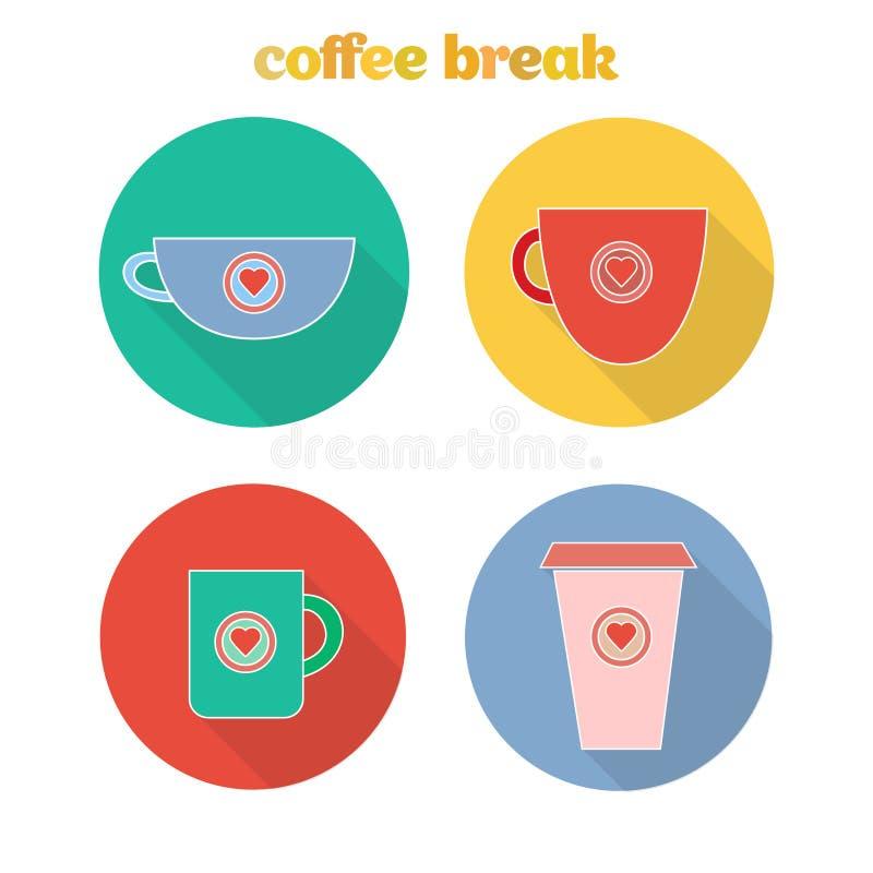 Значки сети с чашками стоковое изображение