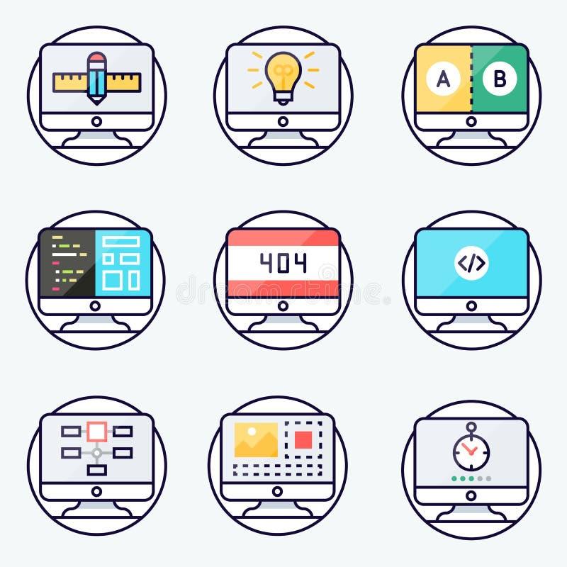 Значки сети для студии сети Веб-дизайн, стиль отзывчивого веб-дизайна плоский вектор стоковые изображения rf