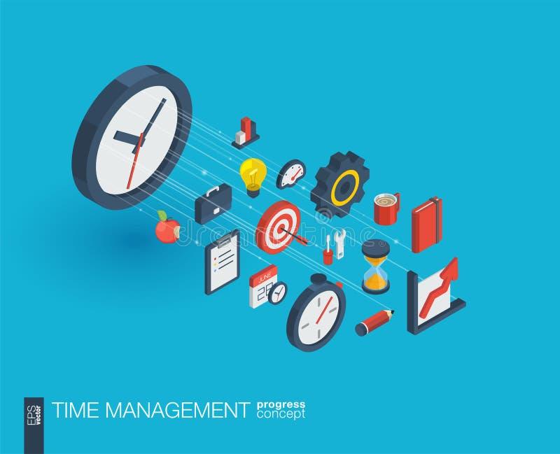 Значки сети 3d контроля времени интегрированные Концепция роста и прогресса бесплатная иллюстрация
