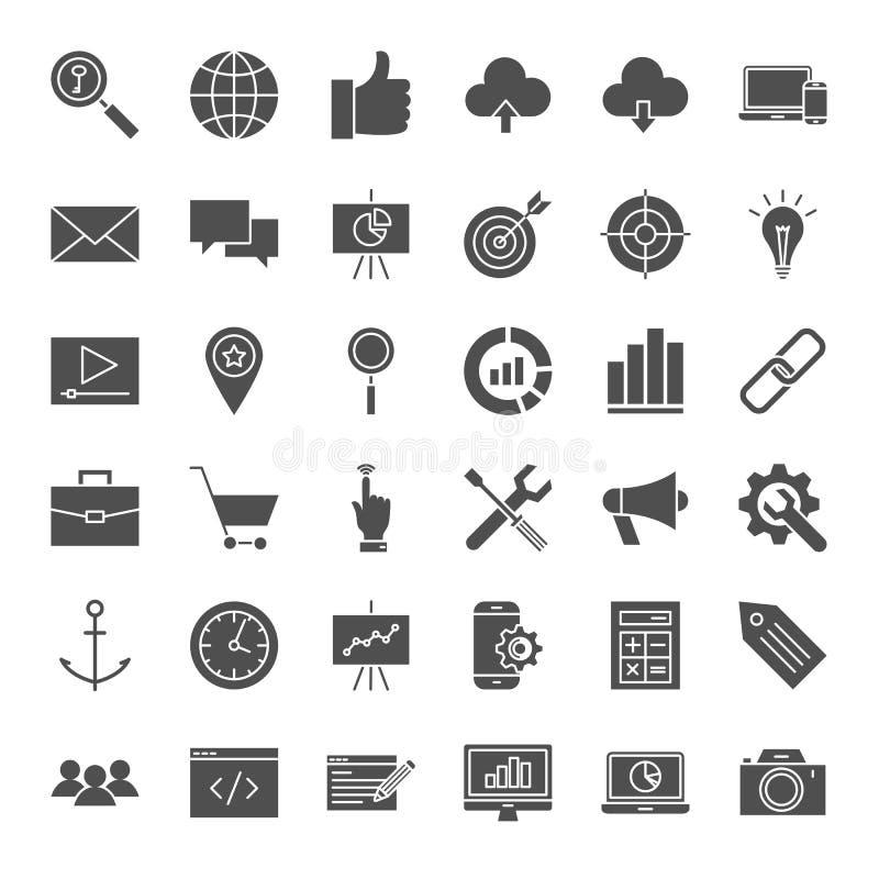 Значки сети SEO твердые бесплатная иллюстрация