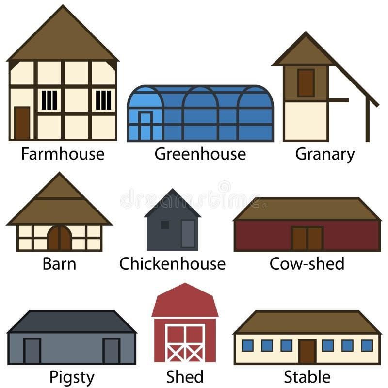 Значки сельскохозяйственных строительств плоские, иллюстрация вектора иллюстрация штока