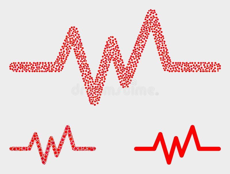Значки сигнала ИМПа ульс вектора Pixelated иллюстрация вектора