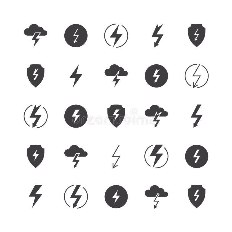 Значки силуэта молнии поручают линию значок забастовки батареи освещения грома удара молнии иллюстрации вектора грома бесплатная иллюстрация