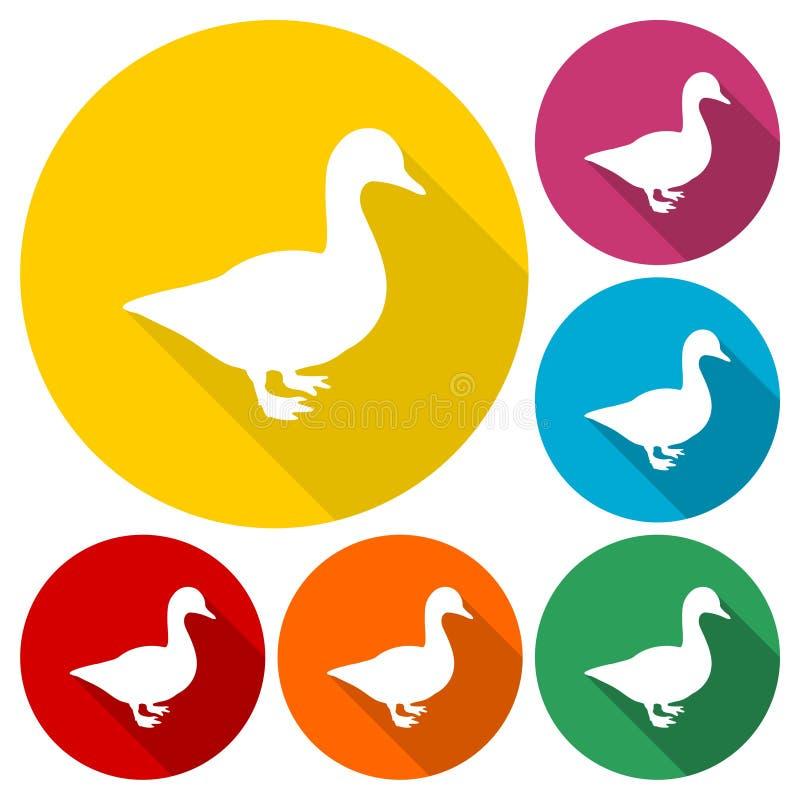 Значки силуэта утки установленные с длинной тенью бесплатная иллюстрация