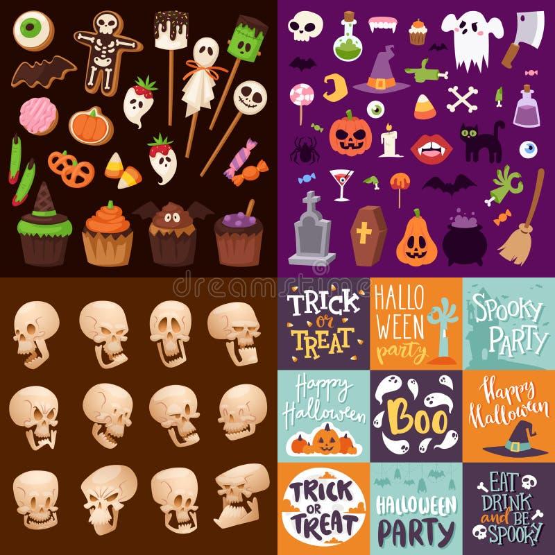 Значки символов ночи хеллоуина страшные vector иллюстрация собрания бесплатная иллюстрация