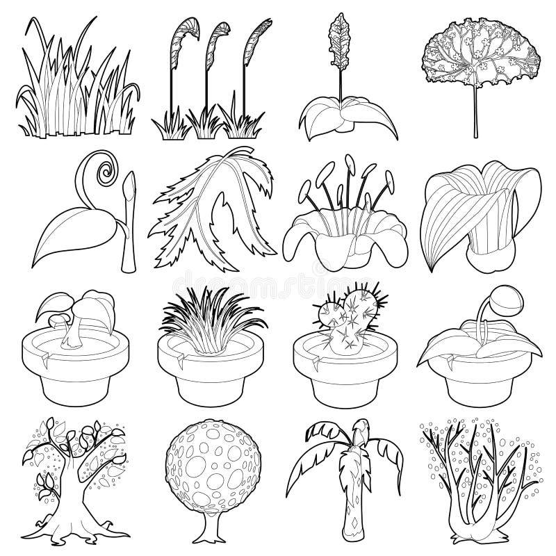 Значки символов природы зеленые устанавливают, конспектируют стиль иллюстрация вектора
