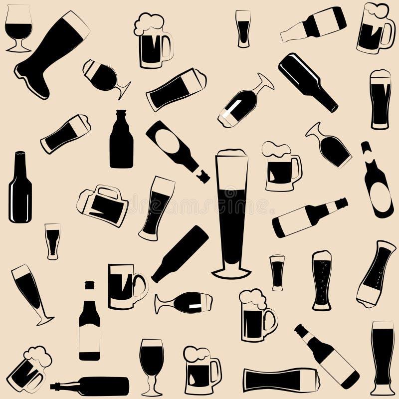 Значки, символы и элементы пива иллюстрация штока