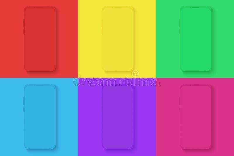 Значки смартфона установили на различные яркие цвета придают квадратную форму предпосылке для infographic, визуального ui, коммер иллюстрация штока