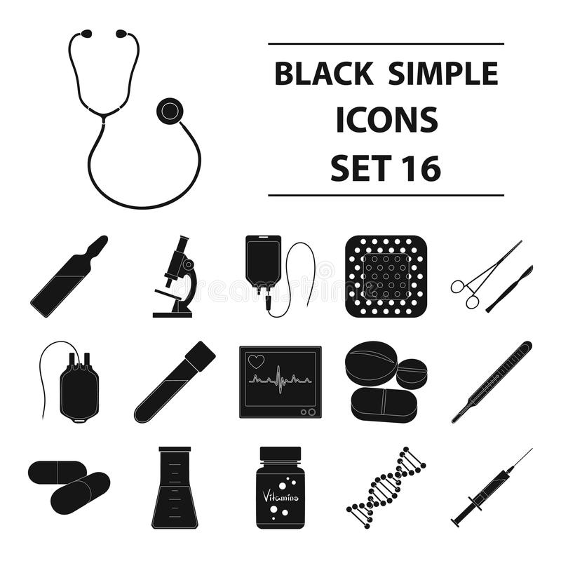 Значки собрания медицины установленные в черном стиле бесплатная иллюстрация