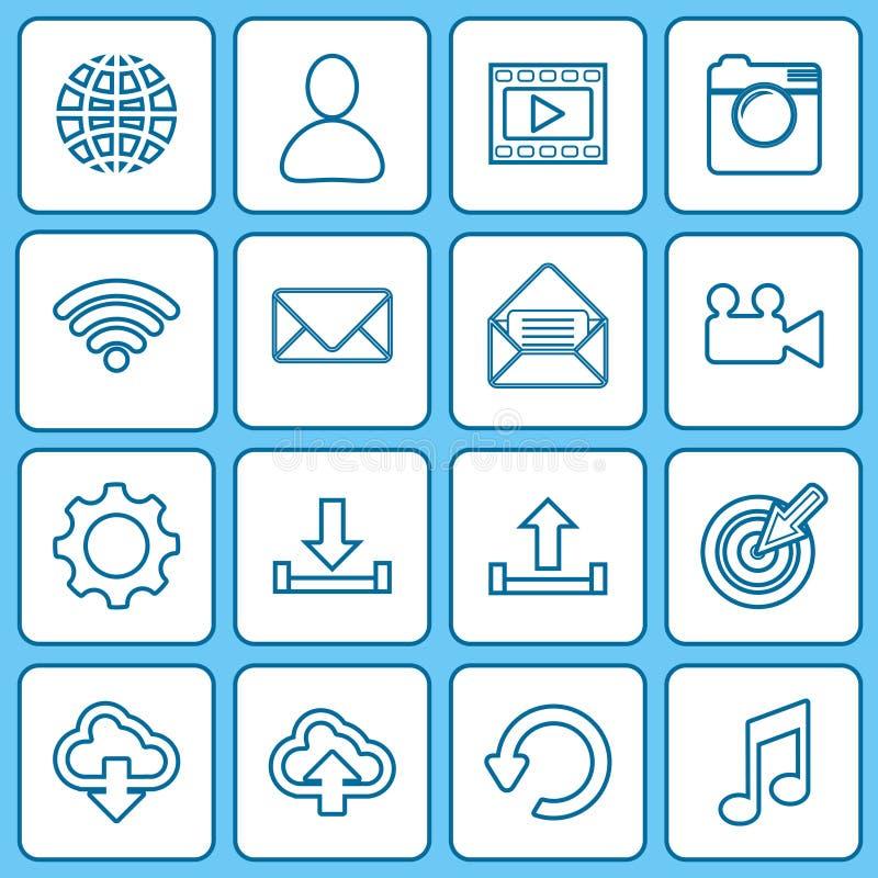 Значки собрания для сети и передвижных apps иллюстрация вектора