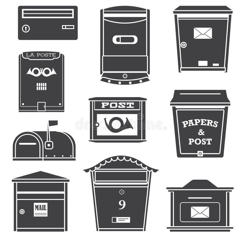Значки современных коробок коробок и письма столба иллюстрация штока