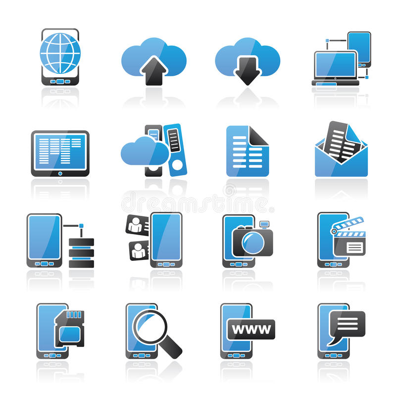Значки соединения, связи и мобильного телефона бесплатная иллюстрация