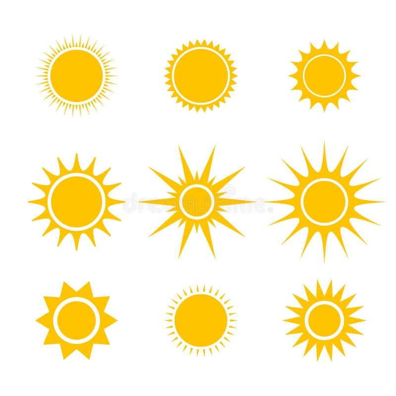 Значки Солнця или вектора шаржа звезды установленные для элементов emoji или смайликов в применении болтовни видео или посыльного иллюстрация вектора
