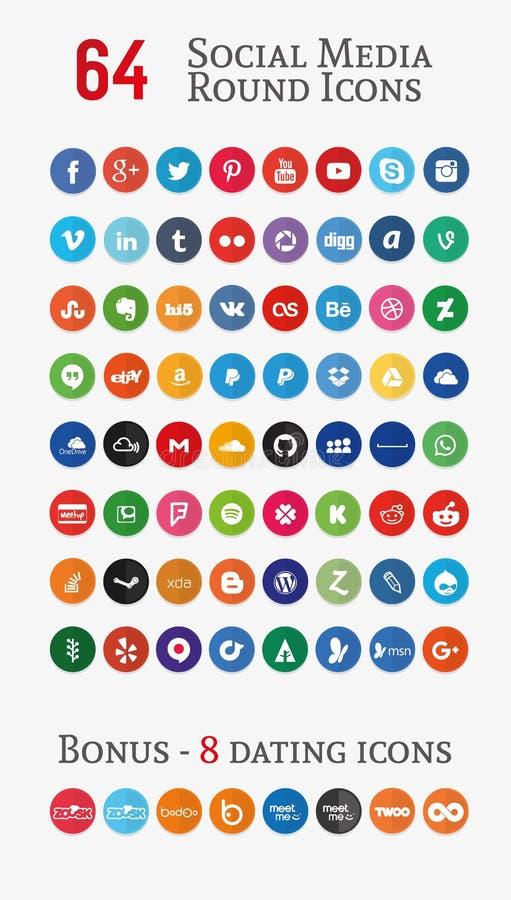 Значки социальных средств массовой информации круглые (установите 1) иллюстрация штока