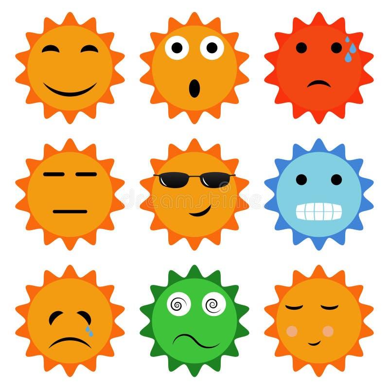 Значки Солнця с эмоциями бесплатная иллюстрация