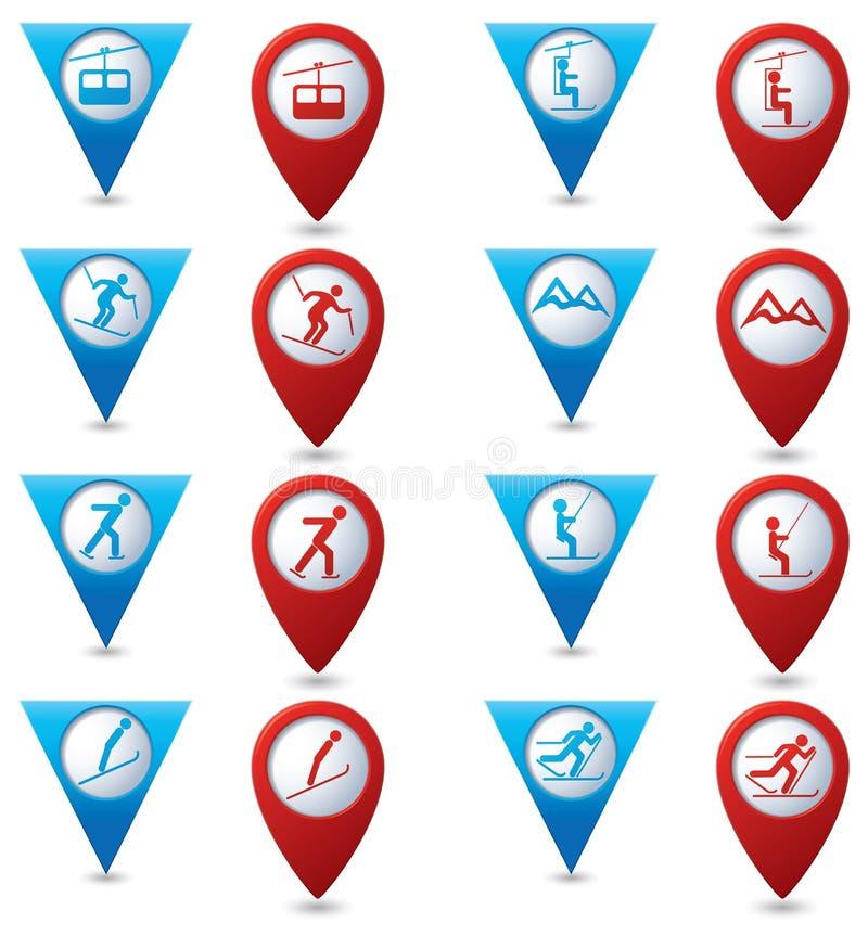 Значки спорта зимы установили на голубые и красные указатели карты иллюстрация штока