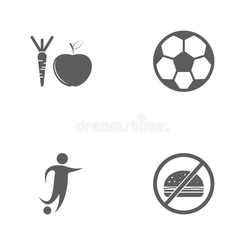 Значки спорта иллюстрации вектора установленные Запрет элементов фаст-фуда, футболиста, футбольного мяча и здорового значка плодо иллюстрация вектора