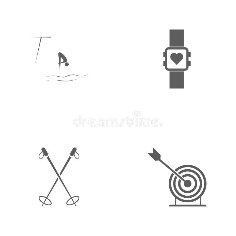 Значки спорта иллюстрации вектора установленные Стрелка и цель элементов, поляки лыжи, вахта спорта и скачка для того чтобы намоч иллюстрация вектора