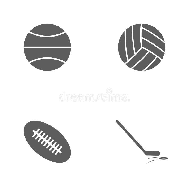 Значки спорта иллюстрации вектора установленные Элементы вставляют и значок шайбы, шарика рэгби, волейбола и баскетбола иллюстрация вектора