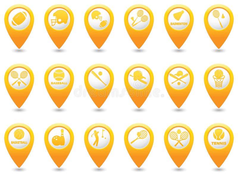 Значки спорт установленные на указатели карты бесплатная иллюстрация