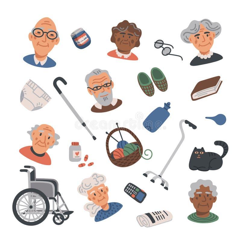 Значки старшего образа жизни плоские установили с престарелыми портретами и элементами Дом престарелых Старшее здравоохранение лю иллюстрация вектора