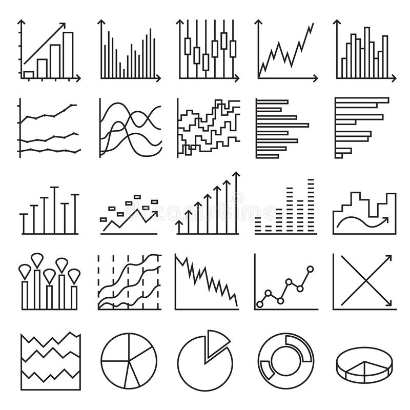 Значки статистик Набор линейных элементов сети иллюстрация штока