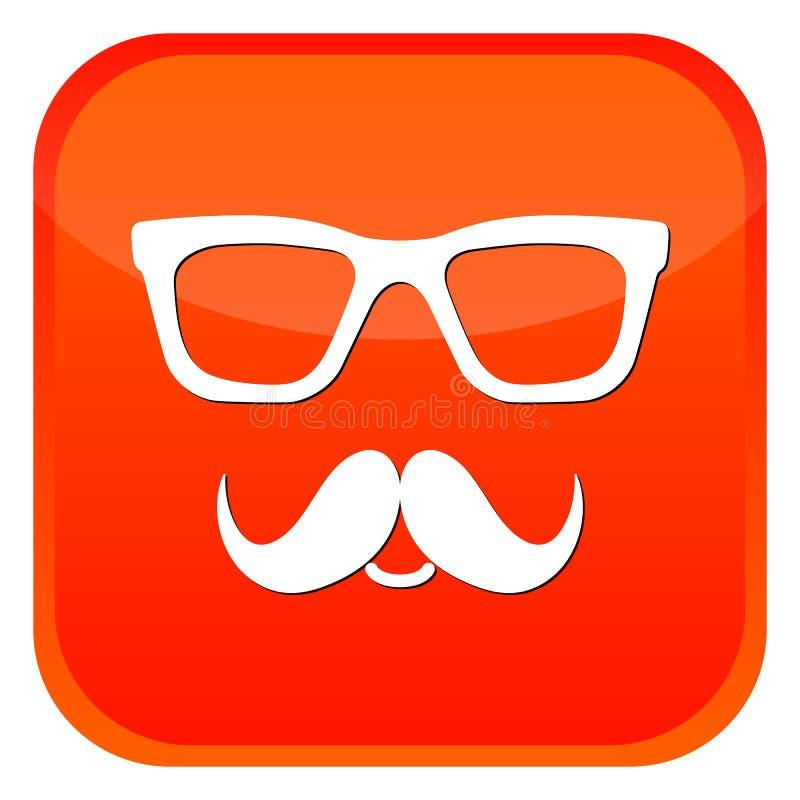 Значки стекел и усиков болвана Оранжевая кнопка сети на белой предпосылке V иллюстрация штока