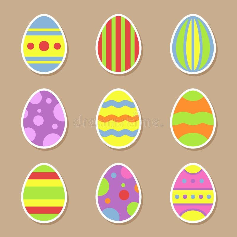 Значки стикеров пасхальных яя в плоском стиле на праздники пасхи конструируют бесплатная иллюстрация