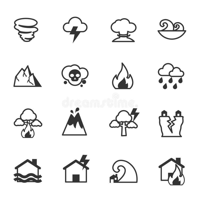 Значки стихийного бедствия, дизайн иллюстрации вектора иллюстрация вектора