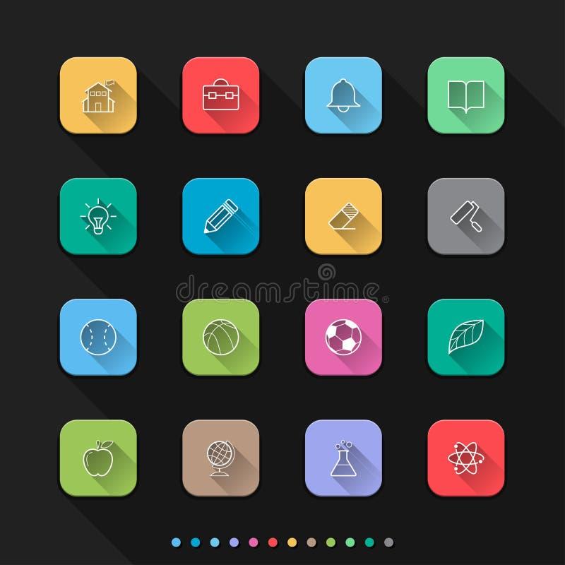 Значки стиля школы и образования плоские устанавливают - Vector иллюстрация для сети & Mobil бесплатная иллюстрация