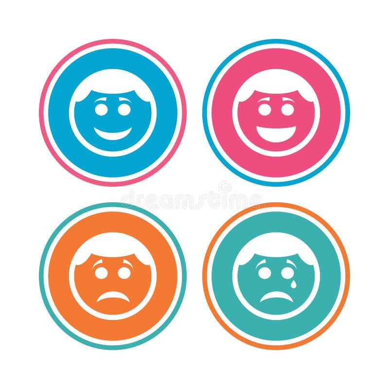 Значки стороны улыбки круга Счастливый, унылый, выкрик иллюстрация штока
