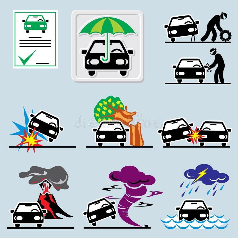 Значки страхования автомобилей иллюстрация вектора
