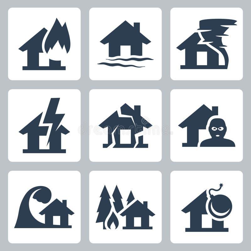 Значки страхования собственности вектора бесплатная иллюстрация