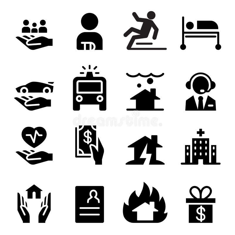 Значки страхового бизнеса бесплатная иллюстрация
