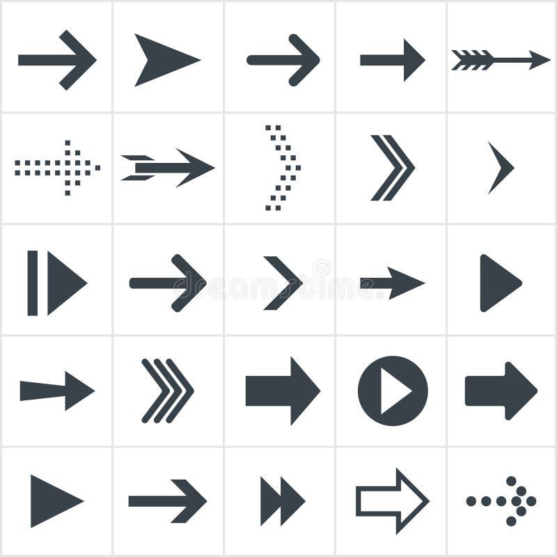 Значки стрелки Черный плоский комплект стрелок иллюстрация штока