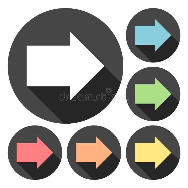 Значки стрелки правые с длинным комплектом тени иллюстрация вектора