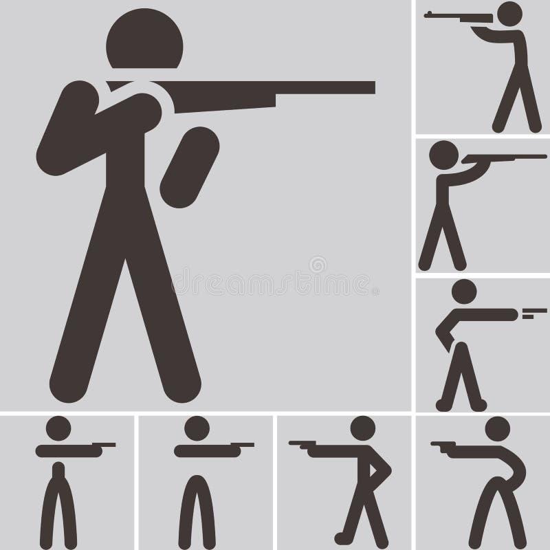Значки стрельбы иллюстрация вектора