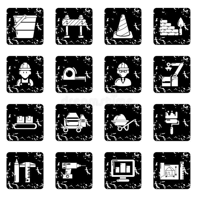 Значки строительного процесса установили grunge бесплатная иллюстрация