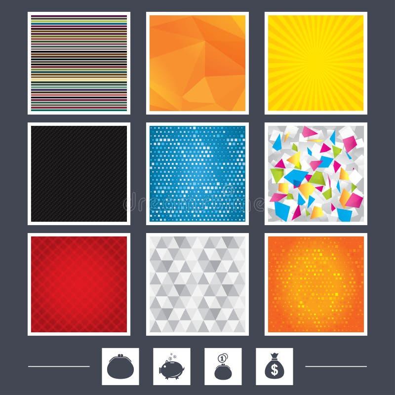 Download Значки сумки денег Символы бумажника и копилки Иллюстрация вектора - иллюстрации насчитывающей углерод, banister: 81804281