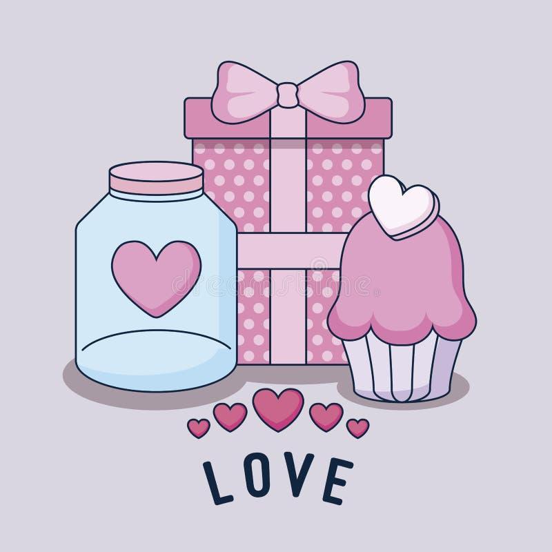 Значки счастливого дня Святого Валентина установленные иллюстрация штока
