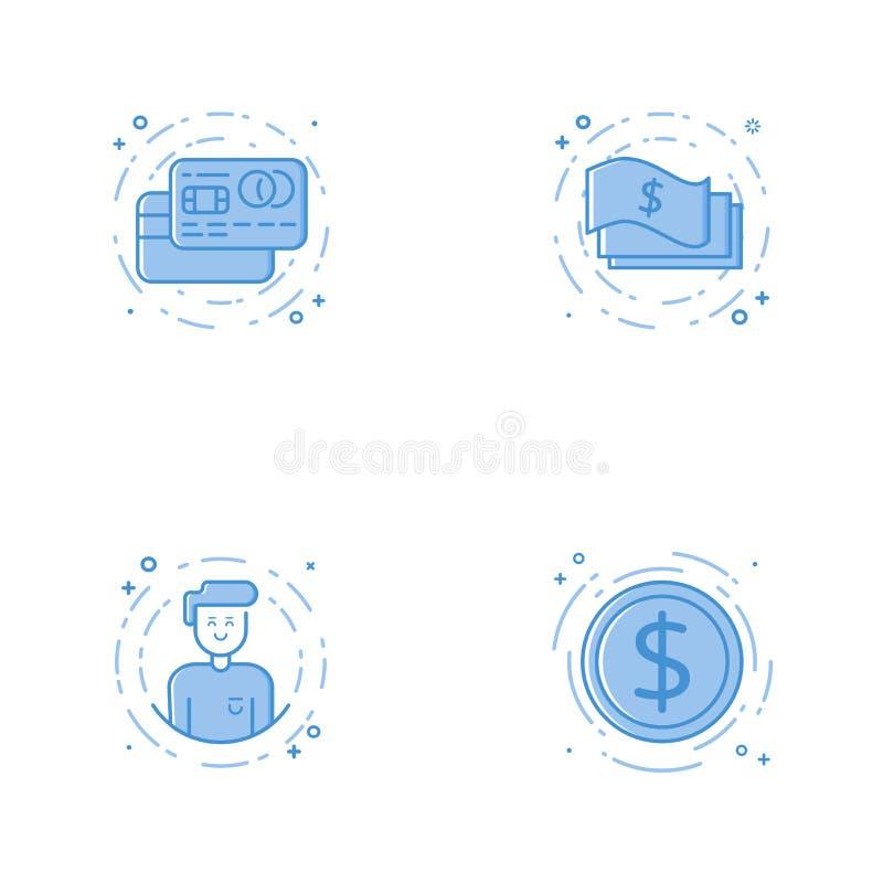 Значки с кредитными карточками, наличными деньгами, характером и монеткой бесплатная иллюстрация