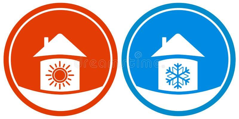 Значки с солнцем и снежинкой на доме иллюстрация штока