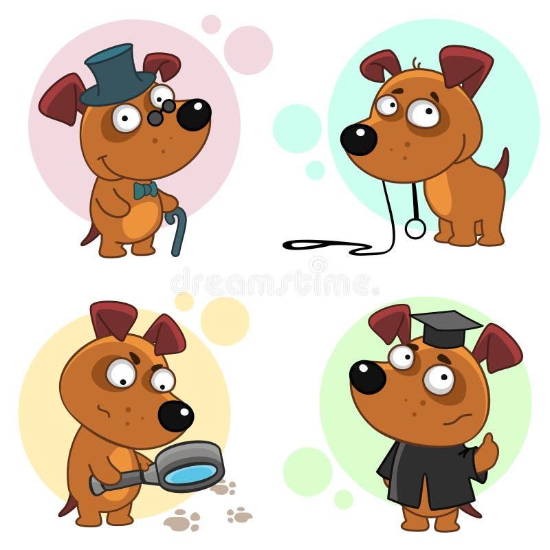 Значки с частью 7 собак иллюстрация штока