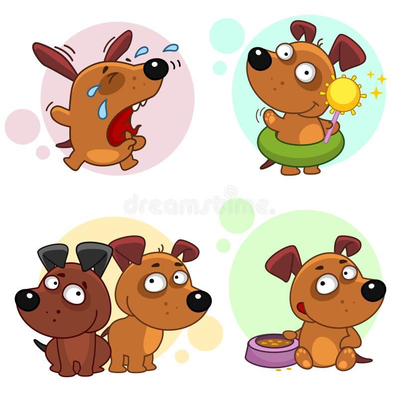 Значки с частью 6 собак иллюстрация штока