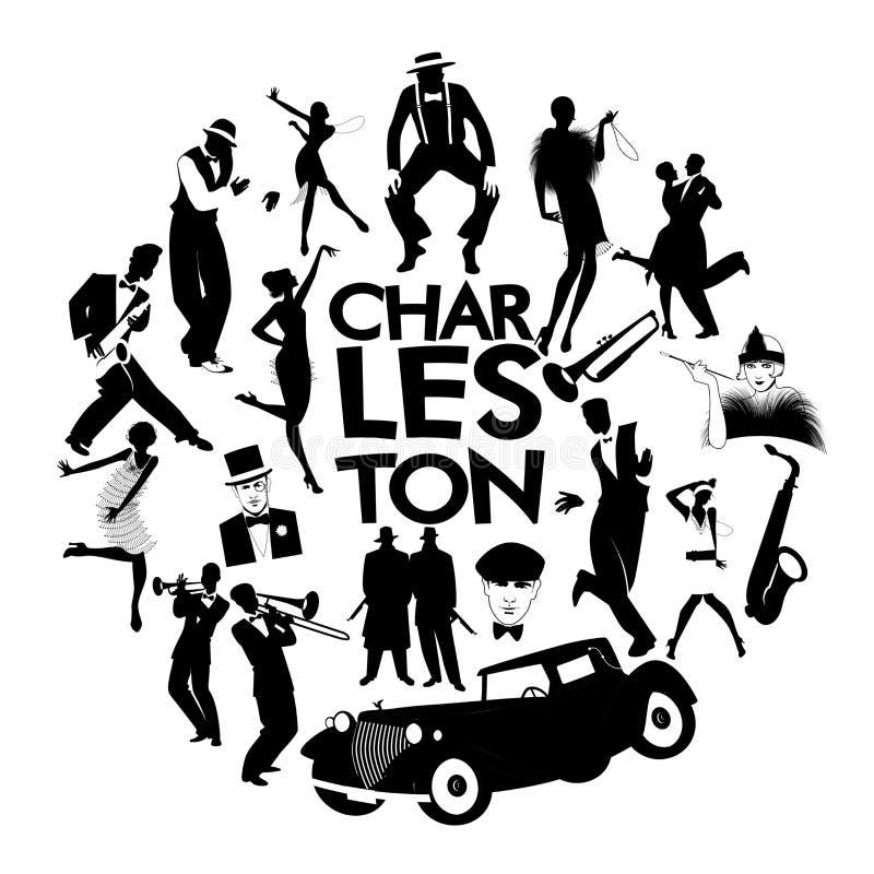 Значки танца Чарлстона Автомобили, девушки язычка, гангстеры и танцоры Чарлстона иллюстрация штока