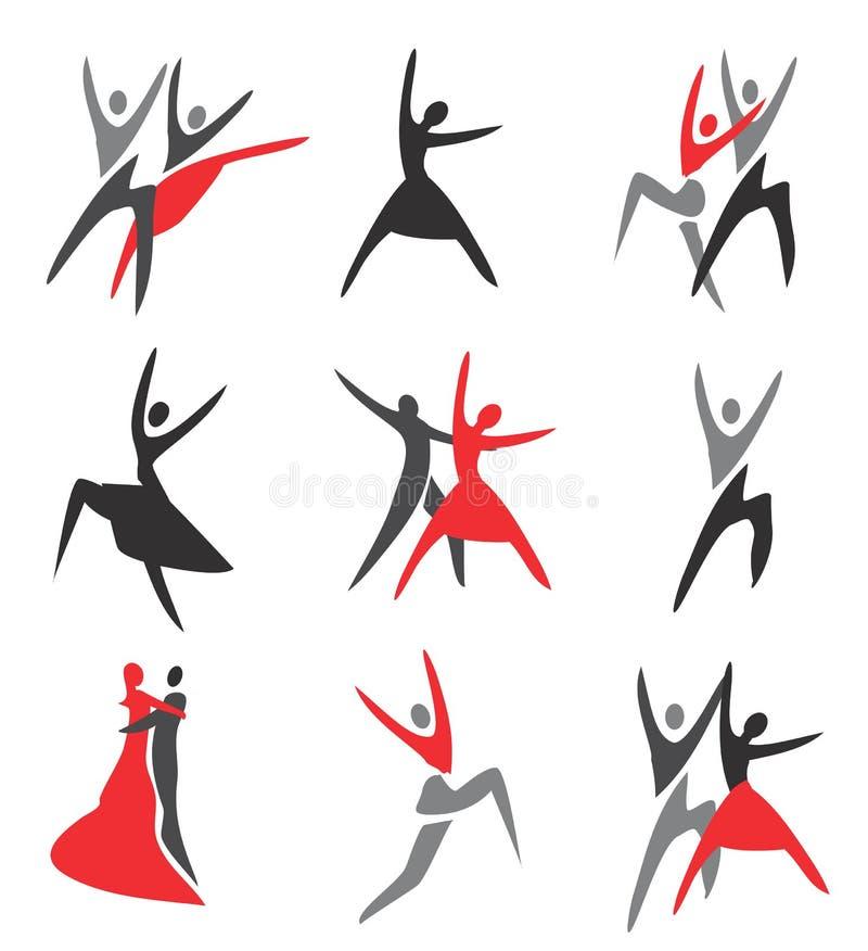 Значки танца иллюстрация вектора