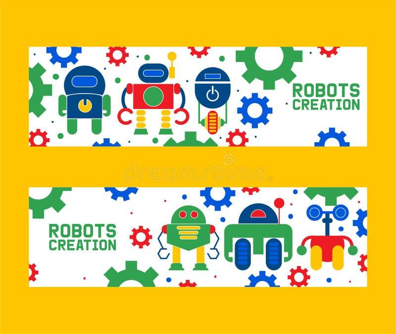 Значки творения робототехники установили иллюстрации вектора знамен Торжество Футуристическая технология искусственного интеллект иллюстрация вектора