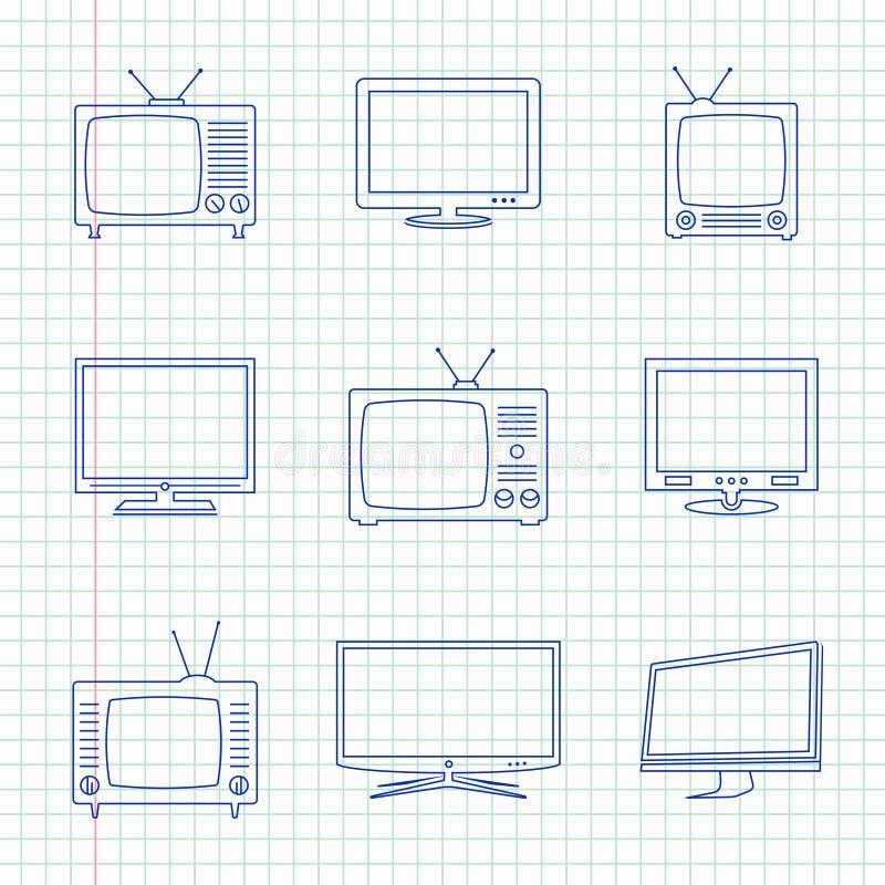 Значки ТВ нарисованные рукой иллюстрация штока