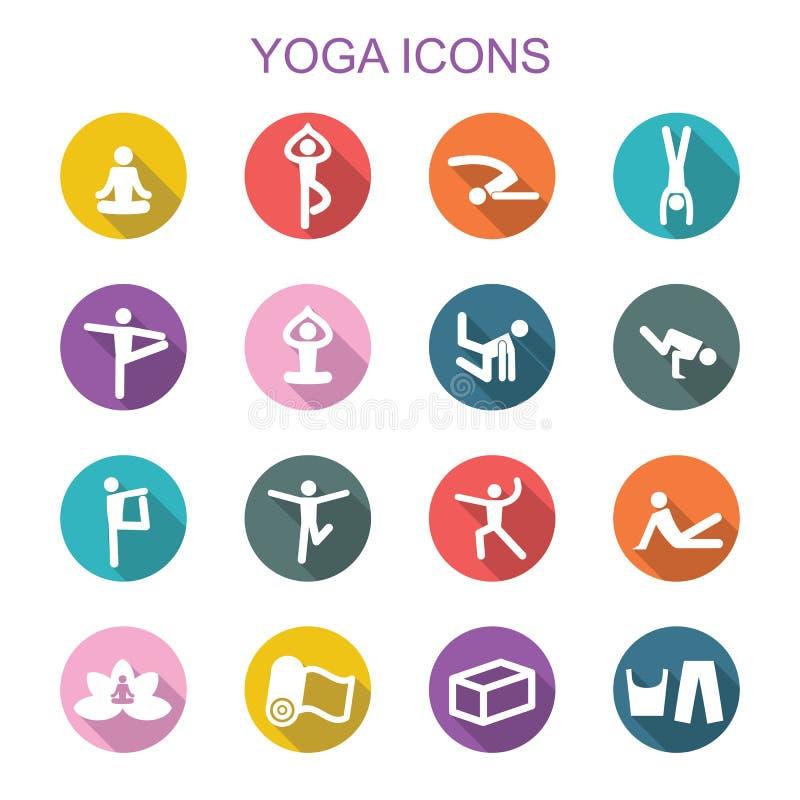 Значки тени йоги длинные иллюстрация штока