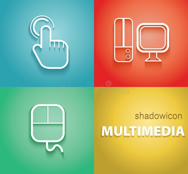 Значки тени мультимедиа иллюстрация вектора